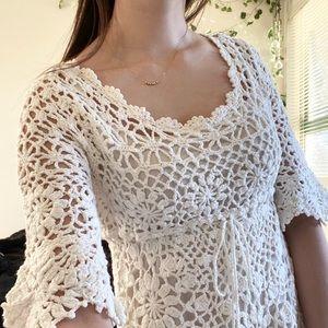 🤍White crochet babydoll dress🤍